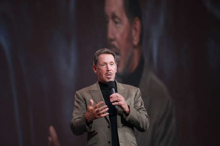 ca he: SAN FRANCISCO, CA, OCT 5, 2011 - CEO of Oracle Larry Ellison makes his first speech at Oracle OpenWorld conference in Moscone center on Oct 5, 2011. He is the third in the Forbes list of richest US persons