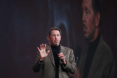 SAN FRANCISCO, CA, OCT 5, 2011 - CEO of Oracle Larry Ellison makes his first speech at Oracle OpenWorld conference in Moscone center on Oct 5, 2011. He is the third in the Forbes list of richest US persons Stock Photo - 11555851