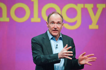 founder: ORLANDO, FLORIDA – JANUARY 18, 2012: Inventor and founder of World Wide Web Sir Tim Berners-Lee delivers an address to IBM Lotusphere 2012 conference on January 18, 2012. He  speaks about social Web