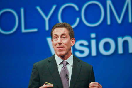 ORLANDO, FLORIDA – JANUARY 18, 2012: Polycom CEO  Andrew M. Miller delivers an address to IBM Lotusphere 2012 conference on January 18, 2012