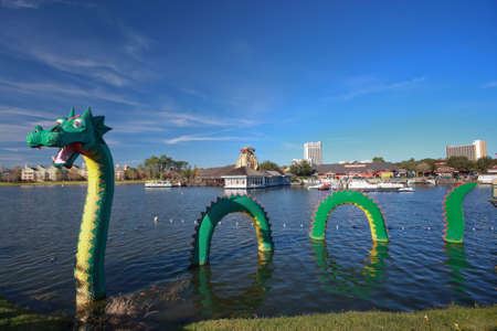 ORLANDO, FLORIDA – JANUARY 15: Dragon at Lego zone of Downtown Disney becomes fame in Chinese New Year period on January 15, 2012