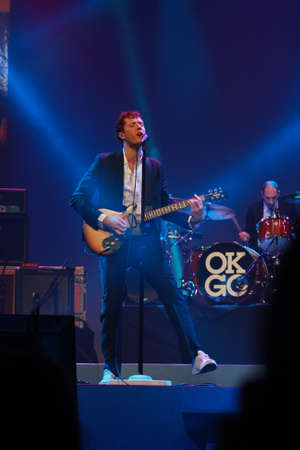 ORLANDO, FLORIDA – JANUARY 15: Damian Kulash lead vocals and guitar player of rock band OK Go performs at IBM Lotusphere conference on January 15, 2012. OK Go got fame for its videos on YouTube Stock Photo - 12257560