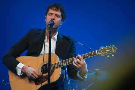 vocals: ORLANDO, FLORIDA – JANUARY 15: Damian Kulash lead vocals and guitar player of rock band OK Go performs at IBM Lotusphere conference on January 15, 2012. OK Go got fame for its videos on YouTube