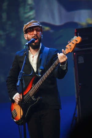vocals: ORLANDO, FLORIDA – JANUARY 15: Tim Nordwind vocals and bass guitar player of rock band OK Go performs at IBM Lotusphere conference on January 15, 2012. OK Go got fame for its videos on YouTube