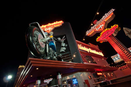 LAS VEGAS, NEVADA - APRIL 10: The Harley-Davidson Cafe located on the Las Vegas Strip and Harmon Road near the Planet Hollywood Resort is a great stop for motorcycle enthusiasts on April 10, 2011