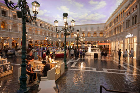 LAS VEGAS, NEVADA - APRIL 11: The Piazza San Marco replica on second floor inside of Venetian Resort Hotel & Casino in Las Vegas on April 11, 2011. The resort was opened on May 3, 1999