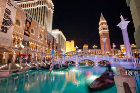 LAS VEGAS, NEVADA - APRIL 10: The Venetian hotel and replica of a Grand canal in Las Vegas at night on April 10, 2011. With more than 4000 suites it`s one of the most famous hotels  in the world