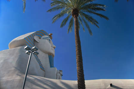 glitzy: LAS VEGAS, NEVADA - MAY 6, 2009: Great Sphinx of Giza at the Luxor hotel in Las Vegas on May 6, 2009. Luxor is the second largest hotel in Las Vegas  and the third largest in the world