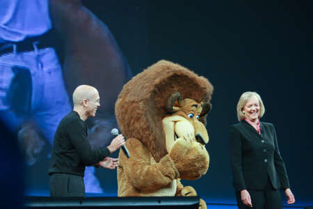 jeffrey: LAS VEGAS, NV ? JUNE 5, 2012: HP CEO Meg Whitman and DreamWorks CEO Jeffrey Katzenberg deliver an address to HP Discover 2012 conference with cartoon character lion on June 5, 2012 in Las Vegas, NV Editorial