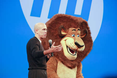 jeffrey: LAS VEGAS, NV ? JUNE 5, 2012: DreamWorks Animation CEO Jeffrey Katzenberg delivers an address to HP Discover 2012 conference with cartoon character lion on June 5, 2012 in Las Vegas, NV