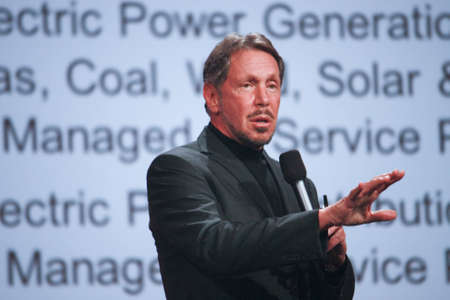 oracle: SAN FRANCISCO, CA, SEPT 30, 2012 - CEO of Oracle Larry Ellison makes his first speech at Oracle OpenWorld conference in Moscone center on Sept 30, 2012. He is the third in the Forbes list of richest US persons