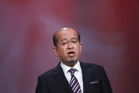 SAN FRANCISCO, CA, SEPT 30, 2012 - Fujitsu Senior Vice President Noriyuki Toyoki makes speech at Oracle OpenWorld conference in Moscone center on Sept 30, 2012 in San Francisco, CA