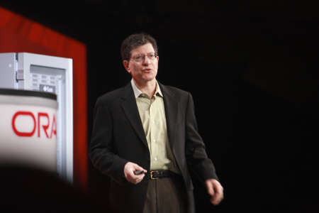 oracle: SAN FRANCISCO, CA, SEPT 30, 2012 - Oracle  Senior Vice President Andy Mendelsohn makes speech at Oracle OpenWorld conference in Moscone center on Sept 30, 2012 in San Francisco, CA