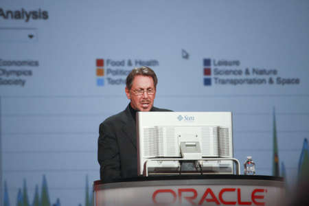 ca he: SAN FRANCISCO, CA, OCT 2, 2012 - CEO of Oracle Larry Ellison makes his second speech at Oracle OpenWorld conference in Moscone center on Oct 2, 2012. He is the third in the Forbes list of richest US persons
