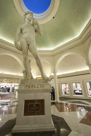 LAS VEGAS, NEVADA - APRIL 12, 2011: Statue in Caesars Palace hotel on April 12, 2011 in Las Vegas, Nevada. Caesars Palace is a luxury hotel and casino containing 3.348 rooms