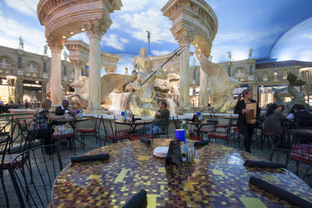 LAS VEGAS, NEVADA - APRIL 12, 2011: Cafe in Forum Shops at Caesars Palace hotel on April 12, 2011 in Las Vegas. This luxury mall is one of the most successful high-end shopping malls in the US