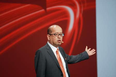 SAN FRANCISCO, CA, SEPT 22, 2013 - Fujitsu Senior Vice President Noriyuki Toyoki makes speech at Oracle OpenWorld conference in Moscone center on Sept 22, 2013 in San Francisco, CA