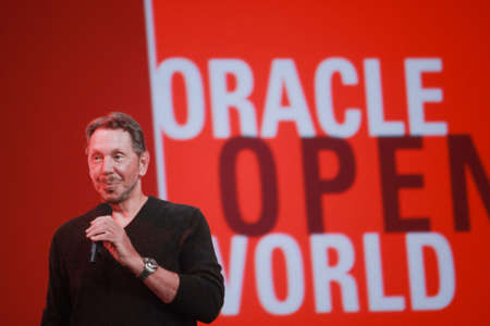 ca he: SAN FRANCISCO, CA, SEPT 22, 2013 - CEO of Oracle Larry Ellison makes his speech at Oracle OpenWorld conference in Moscone center on Sept 22, 2013  He is the third in the Forbes list of richest US persons