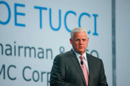 SAN FRANCISCO, CA, SEPT 24, 2013 - EMC CEO  Joe Tucci makes speech at Oracle OpenWorld conference in Moscone center on Sept 24, 2013 in San Francisco, CA Editorial