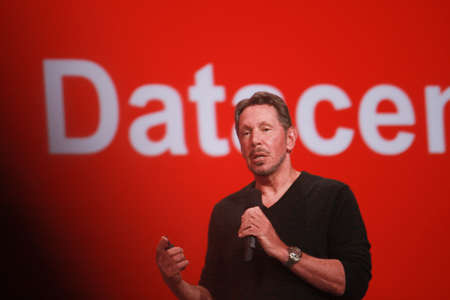 SAN FRANCISCO, CA, SEPT 22, 2013 - CEO of Oracle Larry Ellison makes his speech at Oracle OpenWorld conference in Moscone center on Sept 22, 2013  He is the third in the Forbes list of richest US persons
