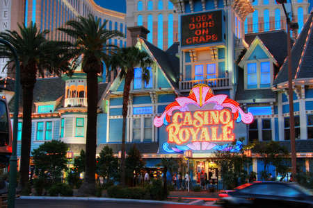 royale: LAS VEGAS, NEVADA - MAY 06, 2009  Entrance to Casino Royale  hotel at central part of Strip in Las Vegas on May 06, 2009   It is known for its promotional slot play