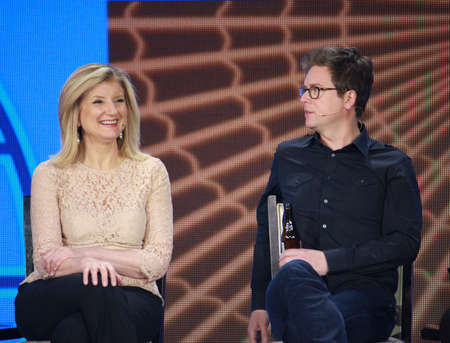 ATLANTA, GA, USA, MARCH 5, 2014 - Twitter founder Biz Stone and Huffington Post Media Group President Arianna Huffington  left  at Microsoft Convergence conference panel discussion in Georgia World Congress Center on March 5, 2014 in Atlanta, GA Editorial