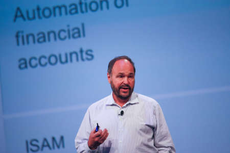 pivotal: LAS VEGAS, NV – MAY 6, 2014: CEO Pivotal Paul Maritz makes speech at EMC World 2014 conference on May 6, 2014 in Las Vegas, NV