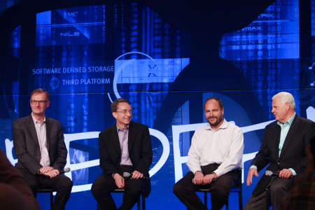 pivotal: LAS VEGAS, NV – MAY 6, 2014: David Goulden, Pat Gelsinger, Paul Maritz and Joe Tucci (left to right) announce federation business model at EMC World 2014 conference on May 6, 2014 in Las Vegas, NV