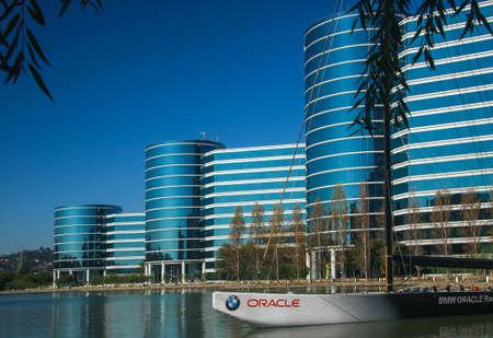 レッドウッドシ ティー、カリフォルニア州、米国 - 2008 年 9 月 24 日: Oracle 本部 2008 年 9 月 24 日に米国カリフォルニア州レッドウッドシティに位置し