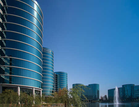 oracle: REDWOOD CITY, CA, USA - SEPT 24, 2008: The Oracle Headquarters located in Redwood City, CA, USA on Sept 24, 2008. Oracle is a multinational hardware and software technology corporation