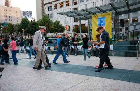square dancing: SAN FRANCISCO, USA - SEPT 22, 2010: People are dancing at Union Square on Sept 22, 2010 in San Francisco, USA