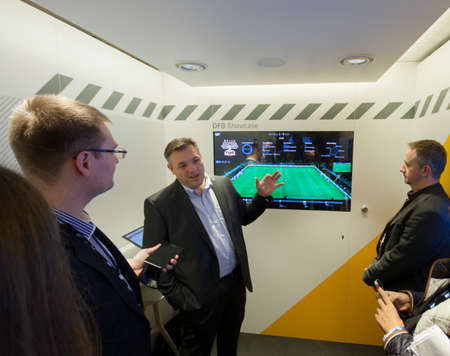 BERLIN, GERMANY – NOVEMBER 11, 2014: SAP Vice President Rolf Schumann talks how Big Data software helps German football team at SAP TechEd 2014 conference on November 11, 2014 in Berlin, Germany