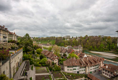 matte: Riverside Matte district with houses at river Aare in Bern, Switzerland Stock Photo