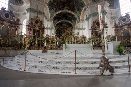 gall: ST. GALLEN, SWITZERLAND - APRIL 22, 2014: Interior  Abbey of Saint Gall in St. Gallen on April 22, 2014. This Roman Catholic Cathedral with thousand year history has attraction for tourists.