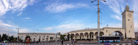 annexation: SIMFEROPOL, UKRAINE - SEPT 30, 2015: Deserted railway station front square on Sept 30, 2015 in Simferopol, Ukraine. After Crimea annexation by Russian Federation external railway traffic was stopped. Editorial