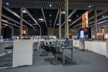gran via: BARCELONA, SPAIN - NOVEMBER 10, 2015: Training zone with notebooks on tables at SAP TechEd 2015 conference at Fira Barcelona Gran Via Exhibition Center on November 10, 2014 in Barcelona, Spain Editorial
