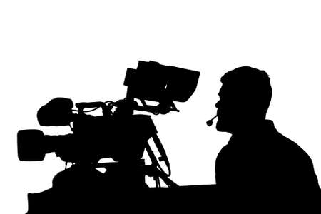 cameraman: Professional TV cameraman with camera and headphones silhouette. Stock Photo