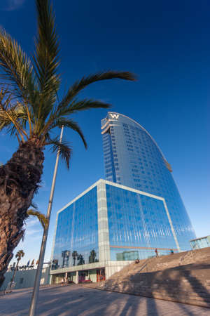 BARCELONA, SPAIN - NOVEMBER 10, 2015: W Barcelona Hotel, also known as the Hotel Vela (Sail Hotel) on November 10, 2014 in Barcelona, Spain. Designed by Architect Ricardo Bofill it is 170 meters high.