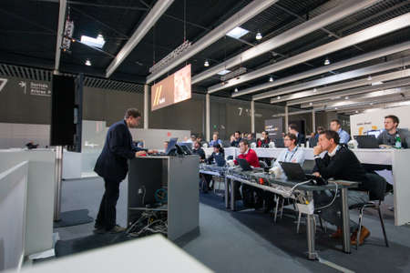 gran via: BARCELONA, SPAIN - NOVEMBER 10, 2015: People in Training zone with notebooks on tables at SAP TechEd 2015 conference at Fira Barcelona Gran Via Exhibition Center on November 10, 2014 in Barcelona, Spain Editorial