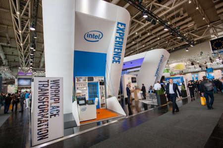 intel: HANNOVER, GERMANY - MARCH 14, 2016: Booth of Intel Corporation at CeBIT information technology trade show in Hannover, Germany on March 14, 2016.