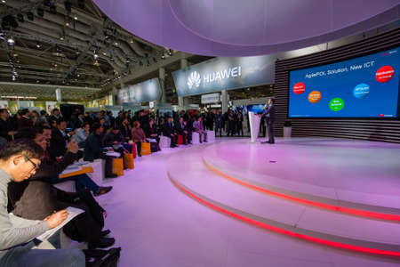 HANNOVER, GERMANY - MARCH 14, 2016: Presentation of Huawei product line president Jeff Wang in booth of Huawei company at CeBIT information technology trade show in Hannover, Germany on March 14, 2016 Editorial