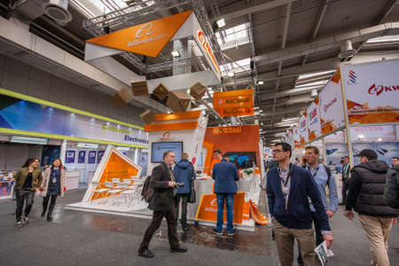 alibaba: HANNOVER, GERMANY - MARCH 14, 2016: Booth of Alibaba Group at CeBIT information technology trade show in Hannover, Germany on March 14, 2016. Editorial