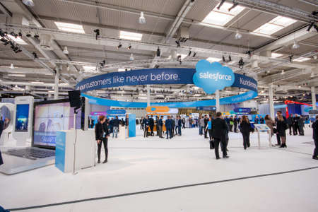 HANNOVER, GERMANY - MARCH 15, 2016: Booth of Salesforce company at CeBIT information technology trade show in Hannover, Germany on March 15, 2016.
