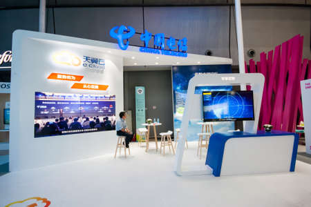 SHANGHAI, CHINA - SEPTEMBER 2, 2016: Booth of China Telecom company at Connect 2016 information technology conference and exhibition in Shanghai, China on September 2, 2016.