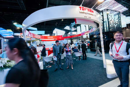 SHANGHAI, CHINA - AUGUST 31, 2016: Booth of Toshiba company at Connect 2016 information technology conference and exhibition in Shanghai, China on August 31, 2016. Editorial