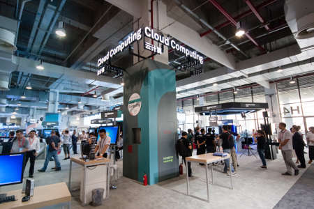 september 2: SHANGHAI, CHINA - SEPTEMBER 2, 2016: Cloud Computing Huawei booth at Connect 2016 information technology conference and exhibition in Shanghai, China on September 2, 2016. Editorial