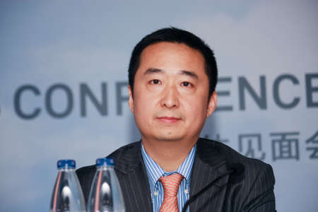 liu: SHANGHAI, CHINA - SEPTEMBER 1, 2016: Huawei Enterprise Network Product Line president Liu Shaowei at press-conference at Connect 2016 technology conference in Shanghai, China on September 1, 2016.