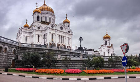 Drone flies near Cathedral of Christ the Saviour in Moscow, Russia. It is tallest Orthodox Christian church in world