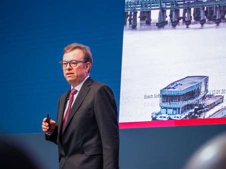 MUNICH, GERMANY - FEBRUARY 16, 2017: Bosch Software Innovations CEO Rainer Kallenbach delivers an address to IBM Genius of Things Summit in Munich, Germany on February 16, 2017. Editorial