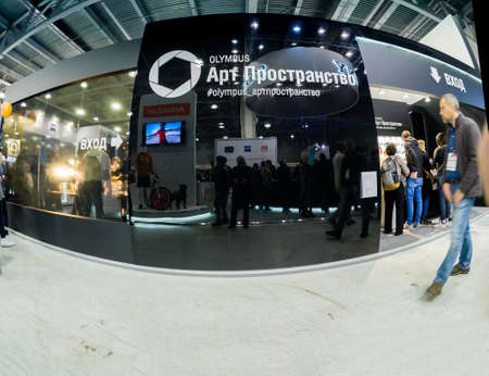 MOSCOW, RUSSIA - APRIL 21, 2017: Art Space booth of Olympus company at PhotoForum 2017 trade show and exhibition in Moscow, Russia on April 21, 2017.